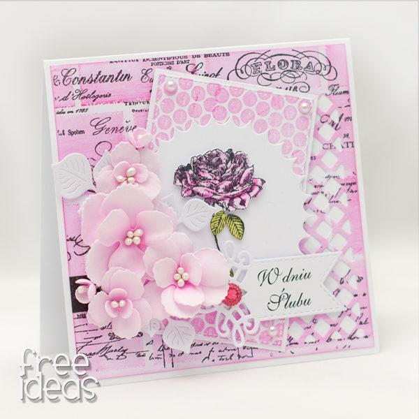 kartka ślubna róża