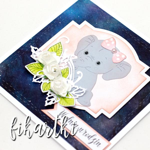 Kartka urodzinowa ze słonikiemwa