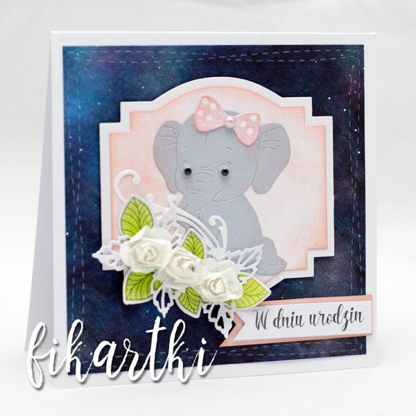 Kartka urodzinowa ze słonikiem