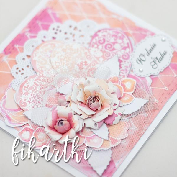 kartka ślubna z kwiatami