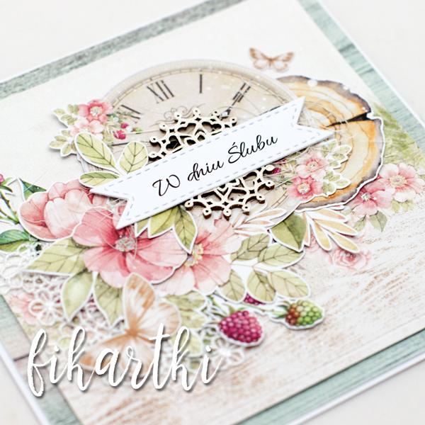 kartka ślubna z zegarem