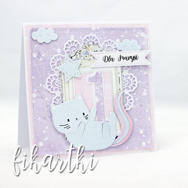 kartka na roczek z kotkiem
